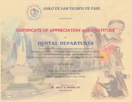Dental Departures Team got certification from Asilo de San Vicente de Paul Orphanage